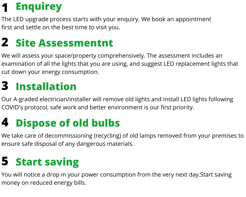 The LED lights replacement process